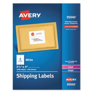 Avery White Shipping Labels, Laser/Inkjet, 3 1/3 x 4, White, 1500/Box (AVE95940)