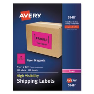 Avery Neon Shipping Label, Laser, 5 1/2 x 8 1/2, Neon Magenta, 200/Box (AVE5948)