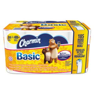 Charmin Basic Bathroom Tissue, 1-Ply, 4 x 3.92, 264/Roll, 24/Carton (PGC85987)