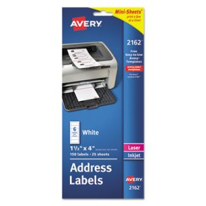 Avery Laser/Inkjet Mailing Labels, Mini-Sheet, 1 x 2-5/8, 200/Pack (AVE2160)