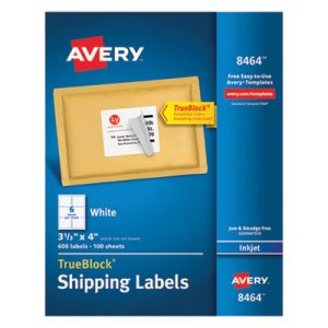 Avery Shipping Labels with TrueBlock Technology, 3-1/3 x 4, 600/Box (AVE8464)