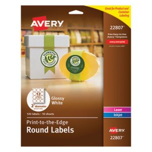 "Avery Round Easy Peel Labels, 2"" Dia., Glossy, White, 120/Pack (AVE22807)"