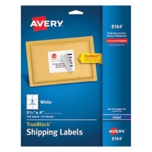 "Avery 8164 White Shipping Labels, 3-1/3"" x 4"", 150 Labels (AVE8164)"