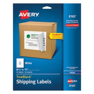 "Avery 8165 White Shipping Labels, 8-1/2"" x 11"", 25 Labels (AVE8165)"
