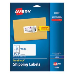 "Avery 8163 White Shipping Labels, 2"" x 4"", 250 Labels (AVE8163)"
