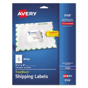 "Avery 8168 White Shipping Labels, 3-1/2"" x 5"", 100 Labels (AVE8168)"
