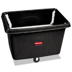 Rubbermaid Commercial Spring Platform Truck, Rectangular, 600 lb. Cap., Black (RCP4618BLA)