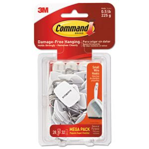 Command Wire Hooks, 0.5-lb Capacity, White, 28 Hooks, 32 Strips (MMM17067MPES)