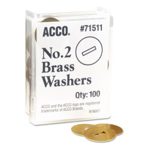 "Acco Washers for Prong Paper File Fasteners, 1-1/4"" Diameter, 100/Box (ACC71511)"