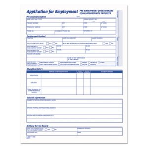Tops Comprehensive Employee Application Form, 8 1/2 x 11, 25 Forms (TOP3288)