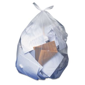 10 Gallon Clear Garbage Bags, 25x23, 0.35mil, 500 Bags (HERH4823RC)