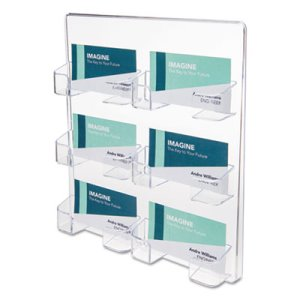 Deflect-o Six-Pocket Wall Mount Business Card Holder, Clear (DEF70601)