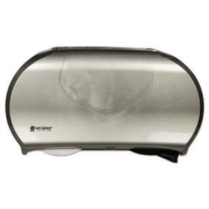 San Jamar Twin Jumbo Bath Tissue Dispenser, Black/Stainless Steel (SJMR4070SS)