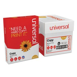 Universal Copy Paper, 92 Bright, 20lb, 8-1/2 x 11, White, 2500 Sheets (UNV11289)