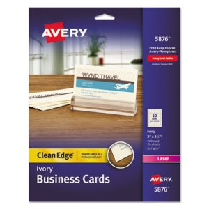 Avery Clean Edge Laser Business Cards, Ivory, 10/Sheet, 200 per Pack (AVE5876)