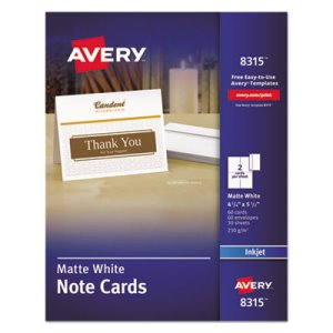 Avery Printer-Compatible Cards, 2 per Sheet, 60/Box w/ Envelopes (AVE8315)