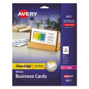 Avery Clean Edge Laser Business Cards, 2 x 3 1/2, 10/Sheet, 200/Pack (AVE5871)