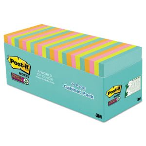 Post-it Notes Super Sticky Pads in Miami Colors, 24 Pads (MMM65424SSMIACP)