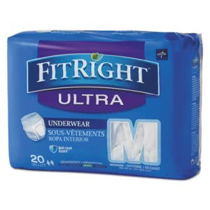 Medline FitRight Protective Underwear, Medium, 20/Pack, 4 Packs (MIIFIT23005ACT)