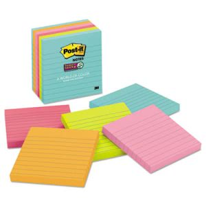 Post-it Notes Super Sticky Pads in Miami Colors, 6 Pads (MMM6756SSMIA)