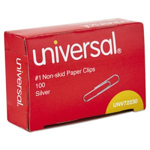 Universal Nonskid Paper Clips, Wire, No. 1, Silver, 100/Box, 10 Boxes (UNV72230)