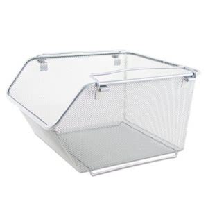 Alera Wire Mesh Stacking Shelving Bins, Silver, 2 Bins(ALESW258SV)