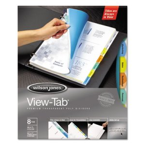 Wilson Jones View-Tab Index Dividers, 8-Tab, Square, Letter, 5 Sets (WLJ55567)