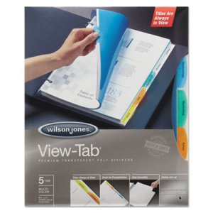 Wilson Jones View-Tab Transparent 5-Tab Index Dividers, 5 Sets (WLJ55565)