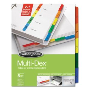 Wilson Jones Multi-Dex Index Assorted Color 5-Tab, 1-5, Letter, 5/Set (WLJ90503)
