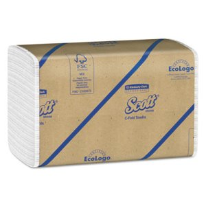 Scott 01510 White C-Fold Paper Towels, 2,400 Towels (KCC01510)
