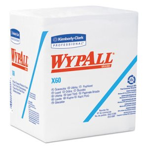 Wypall X60 Quarterfold Rags, 1-Ply, White, 12 Packs (KCC 34865)