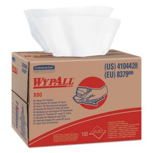 Wypall X80 Industrial Wipes in Brag Box, White, 160 Wipers (KCC41044)