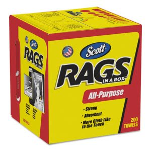 Scott All Purpose Rags-In-A-Box, 1-Ply, Unscented, 8 Boxes (KCC75260CT)