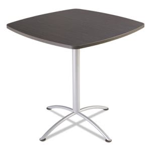 "Iceberg iLand Table, Contour, Square Seated Style, 42"" x 42"" x 42"", Gray Walnut/Silver (ICE69764)"