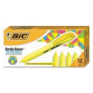 Bic Brite Liner Retractable Highlighter, Yellow, 12 Highlighters (BICBLR11YW)