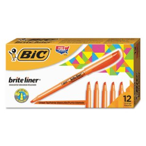 Bic Brite Liner Highlighter, Chisel Tip, Orange Ink, 1 Dozen (BICBL11OE)