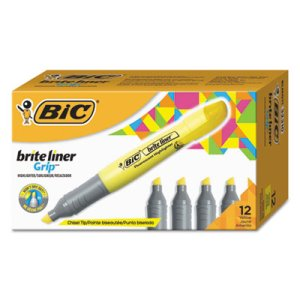 Bic Brite Liner Grip XL Yellow Highlighter, 12 Highlighters (BICBLMG11YW)