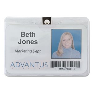 Advantus ID Badge Holder, Horizontal, 4w x 3h, Clear, 50/Pack (AVT75456)