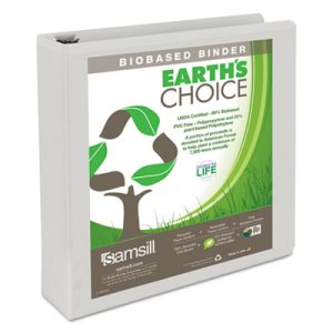 "Earth's Choice Biodegradable Ring Binder, 1-1/2"" Capacity, White (SAM18957)"