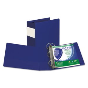 "Clean Touch Antimicrobial 4"" Cap Round Ring Binder, 11 x 8 1/2, Blue (SAM14392)"