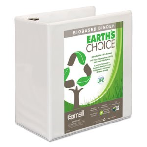 "Earth's Choice Biodegradable Angle-D Ring View Binder, 5"", White (SAM16907)"