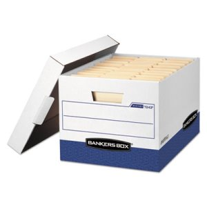 Bankers Storage Box, Letter, Locking Lid, White/Blue, 12 per Carton (FEL07243)