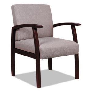 Alera Reception Lounge 700 Series Guest Chair, Mahogany/Sandstone (ALERL7651M)