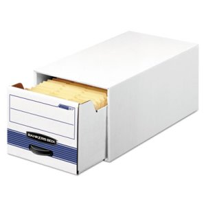 Bankers Storage Box w/ Drawer, Wire, 5 x 8, White/Blue, 12 per Carton (FEL00306)