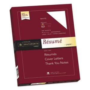 Southworth 100% Cotton Resume Paper, White, 8-1/2 x 11, 100 Sheets (SOUR14CF)