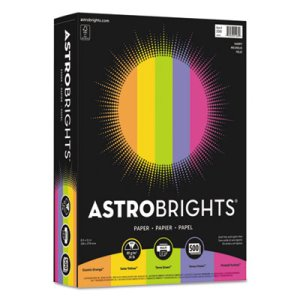 Astrobrights Colored Paper, 24 lb, 8-1/2 x 11, Assorted, 500 Sheets (WAU21289)