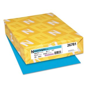 Neenah Exact Brights Paper, 50-lb, Bright Blue, 500 Sheets (WAU26781)