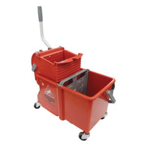 Unger Side-Press Restroom Mop Dual Bucket Combo, 4 gal, Plastic, Red (UNGCOMSR)