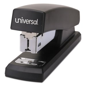 Universal Economy Half Strip Stapler, 12-Sheet Capacity, Black (UNV43119)