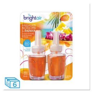 Bright Air Electric Oil Air Freshener, Hawaiian/Papaya, 12 Refills (BRI900256)